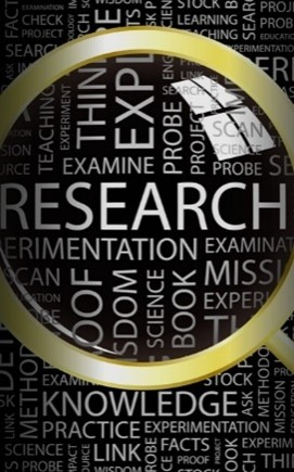 many words including research behind a magnifying glass