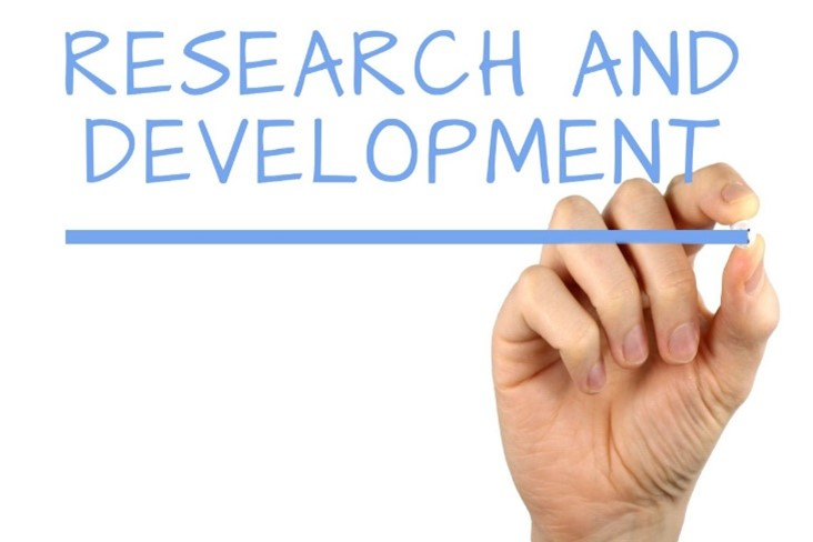 the phrase research and development being written by hand in chalk