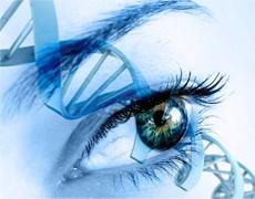 DNA strand across an eye